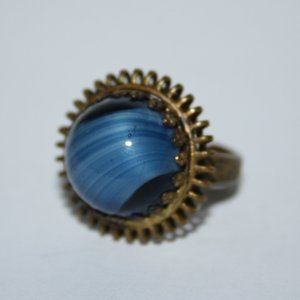 Vintage GERMANY Gold ring with blue stone adjust.